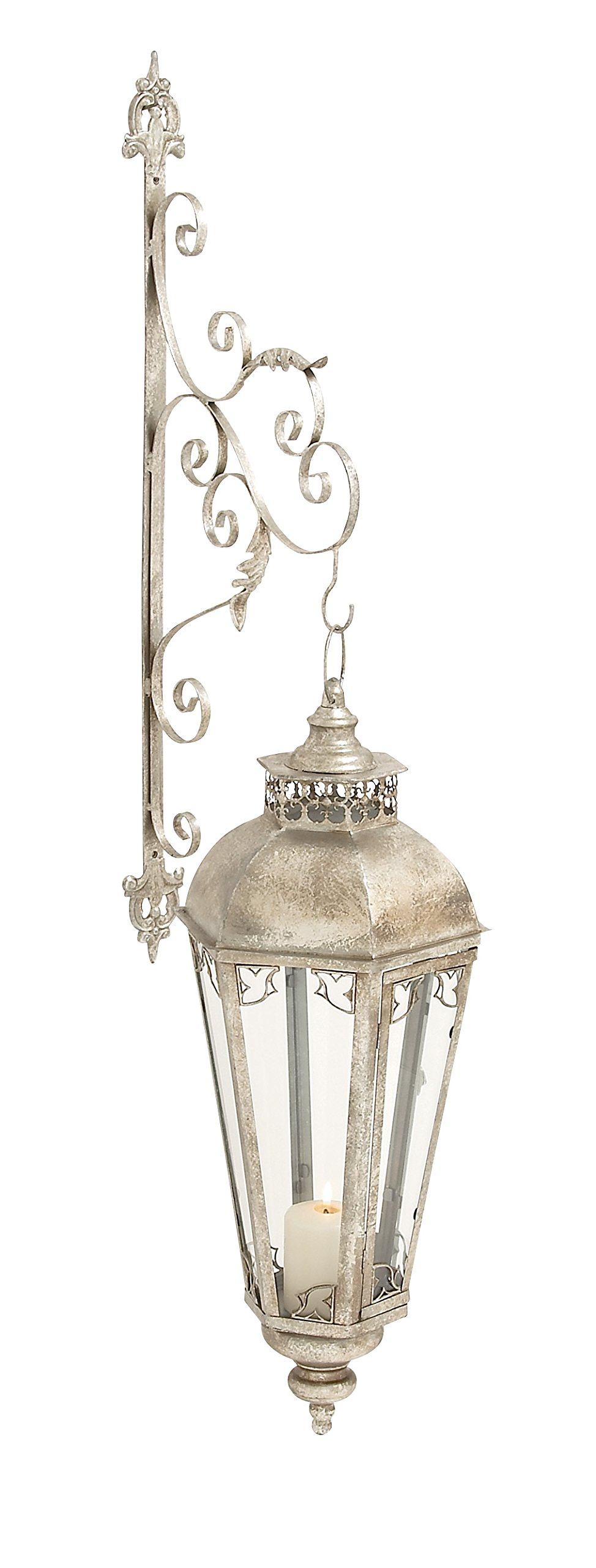Benzara Vintage Themed Metal Glass Wall Lantern
