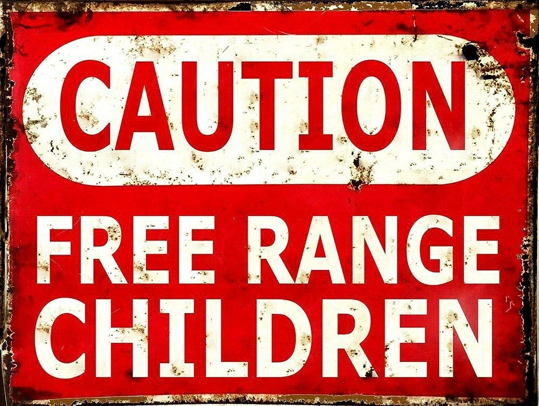 New Vintage Retro Metal Tin Sign Caution Free Range Children Outdoor Garage Street & Home Bar Club Retaurant Wall Decor Signs 12X8 Inch
