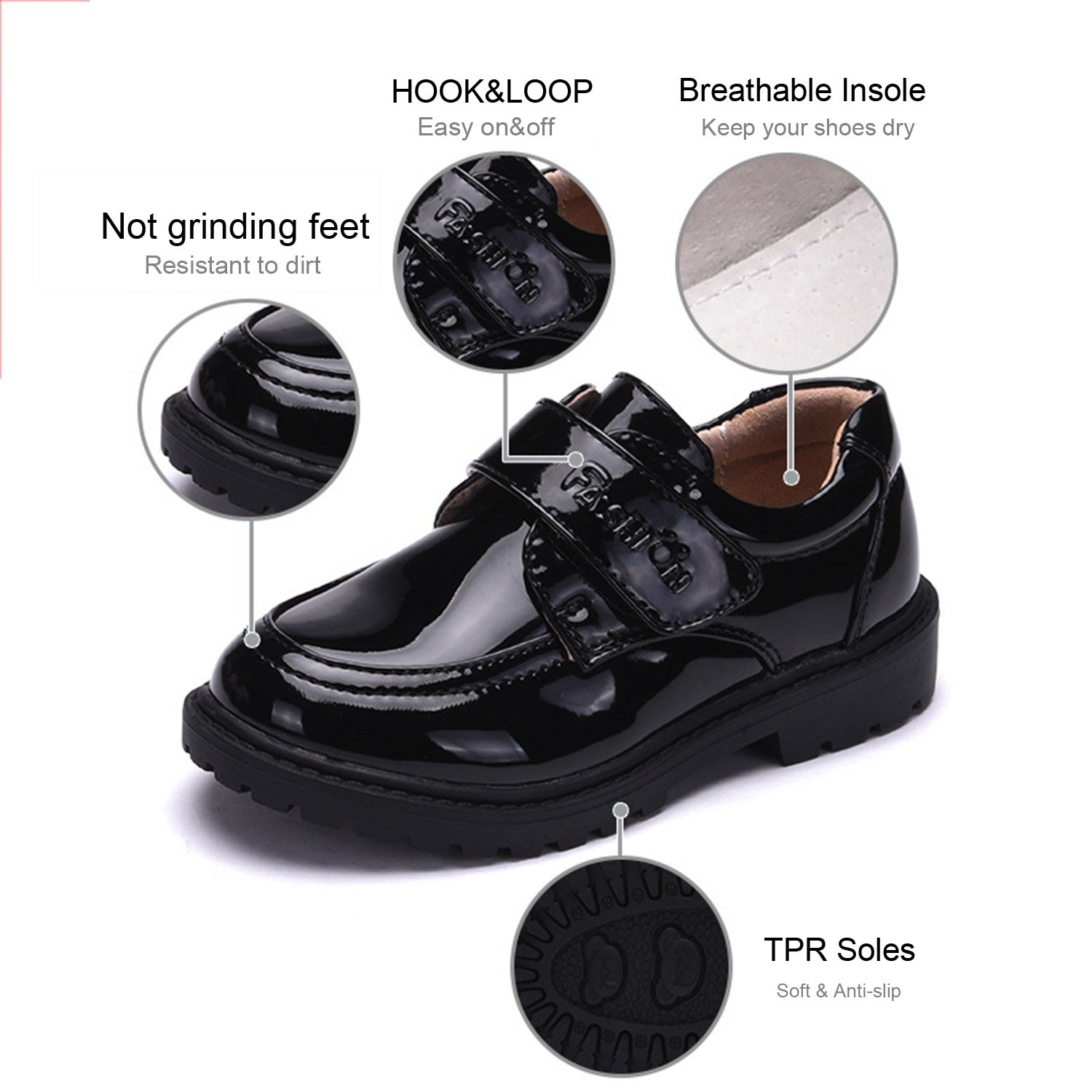 Non-Slip Boys Loafers Kids Shoes Student Performance Flats Slip On Style Single Fastener Band Durable Color : Black , Size : 39