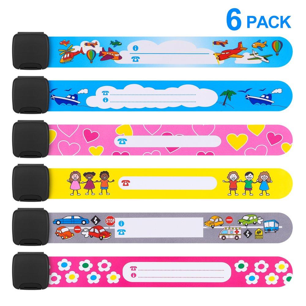 Emergency Bracelet for Child, Mopoin 6 Piece Safety Armband Waterproof Safety ID Bracelet Reusable SOS Bracelet for Boys Girls