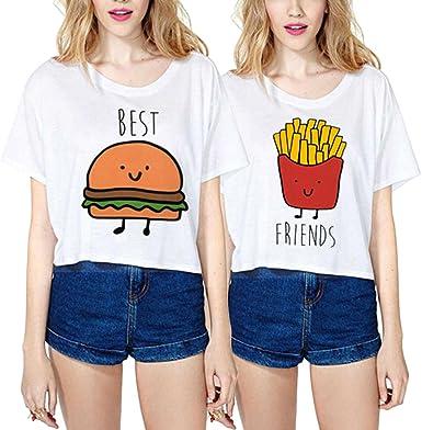 Mejores Amigas Camiseta Best Friends Shirts 100% Algodón 2 Piezas Impresión Dibujos Animados Manga Corta Casual Verano para Mujer(Blanco+Blanco, Best-L+Friends-M): Amazon.es: Ropa y accesorios