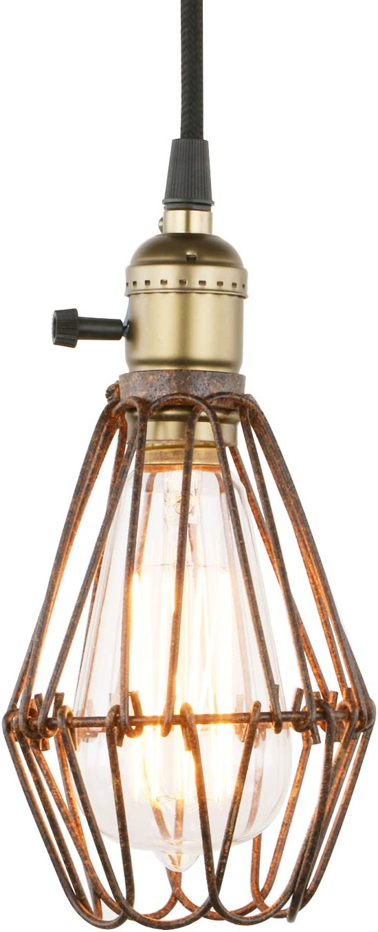Permo Rusty Brown Metal Vintage Style Industrial Opening and Closing Hanging Light Pendant Wire Cage Lamp Guard