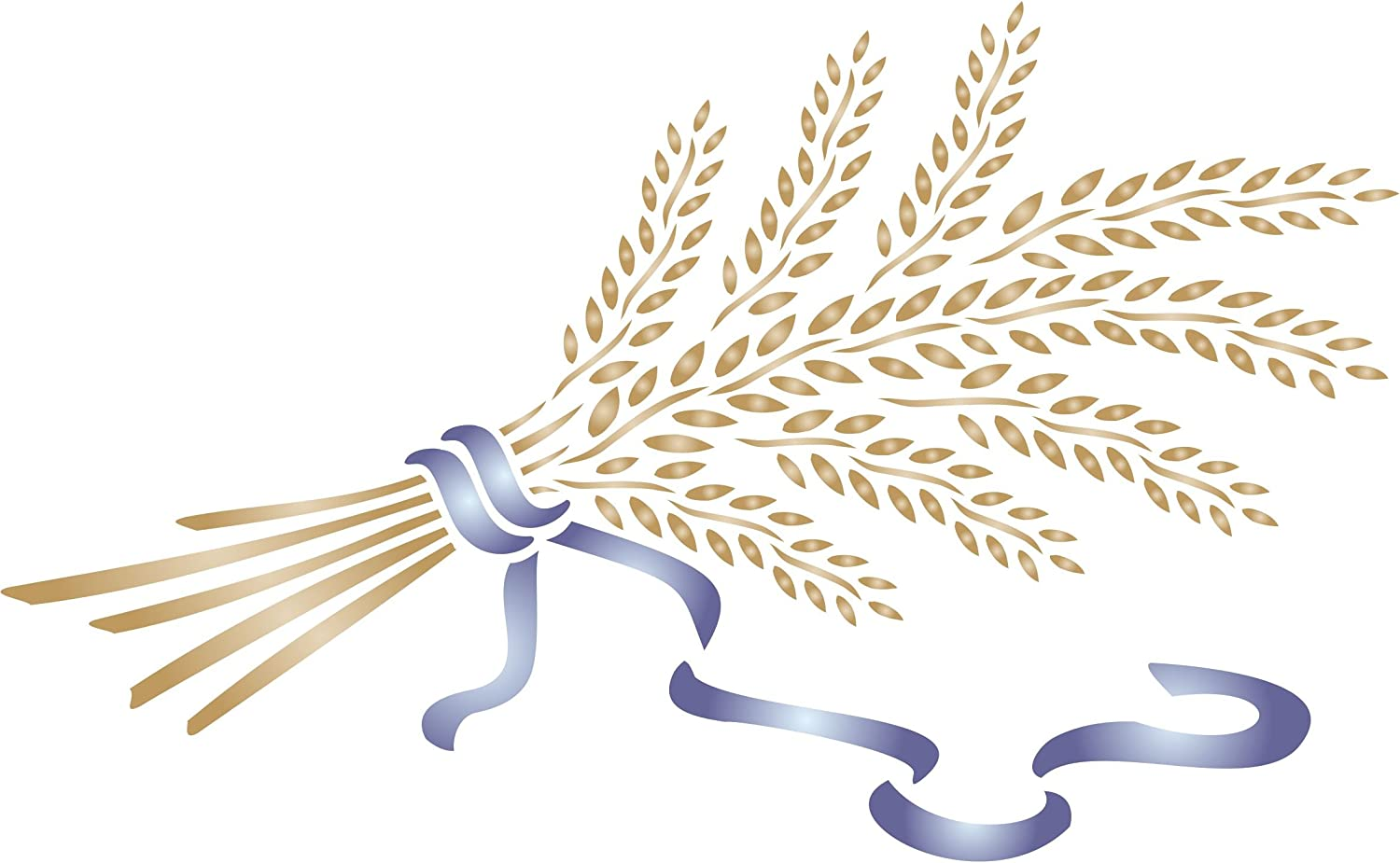 Wheat Sheaf Stencil, 13 x 8 inch - Vegetable Kitchen Stencils for Painting Template