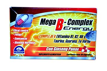 Mega B-complex 100% Natural Extracts Energy As Panax Ginseng, Guarana and Green