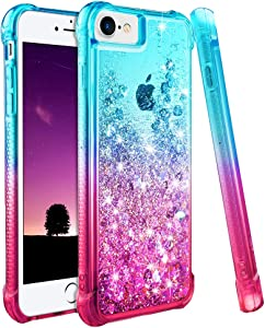 "Ruky iPhone 6 6S 7 8 Case, iPhone SE 2020 Case, iPhone 6 Case for Girls, Gradient Quicksand Series Glitter Bling Liquid Floating Soft TPU Protective Case for iPhone 6/6s/7/8/SE 2020 4.7"" (Teal Pink)"