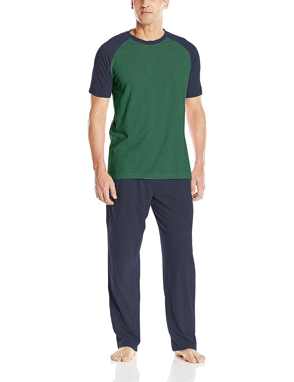 Evergreen & Bright Navy XLarge Hanes Men's Adult XTemp Short Sleeve Cotton Raglan Shirt and Pants Pajamas Pjs Sleepwear Lounge Set
