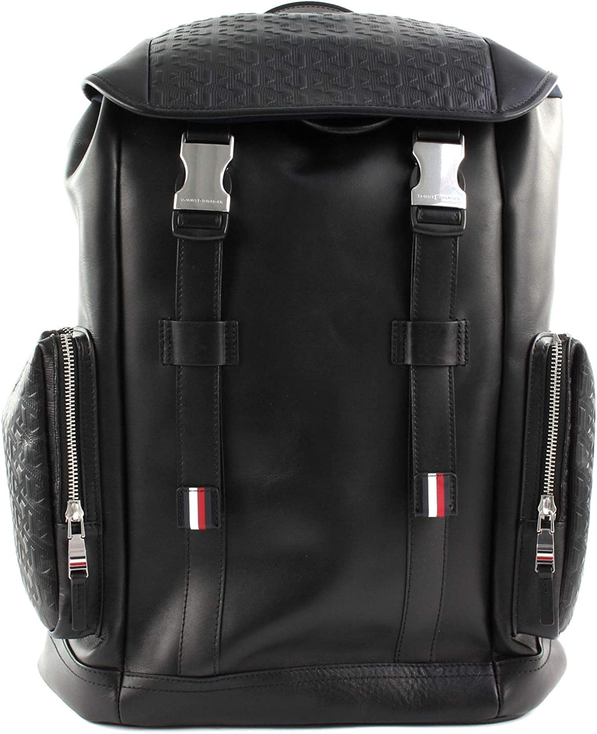 Tommy Hilfiger CASUAL LEATHER EMBOSS FLAP BACKPHombreMonederosNegro (Black) 17x47x42 centimeters (B x H x T)