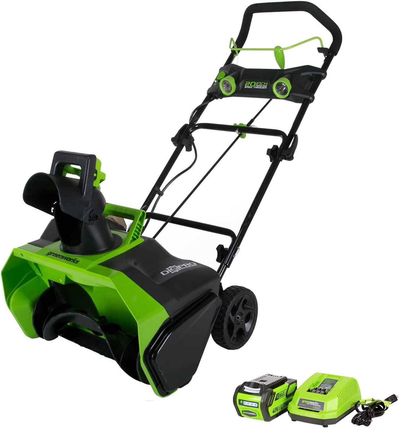 Greenworks 40V Cordless Snow Thrower, 4.0 AH Battery Included, 26272