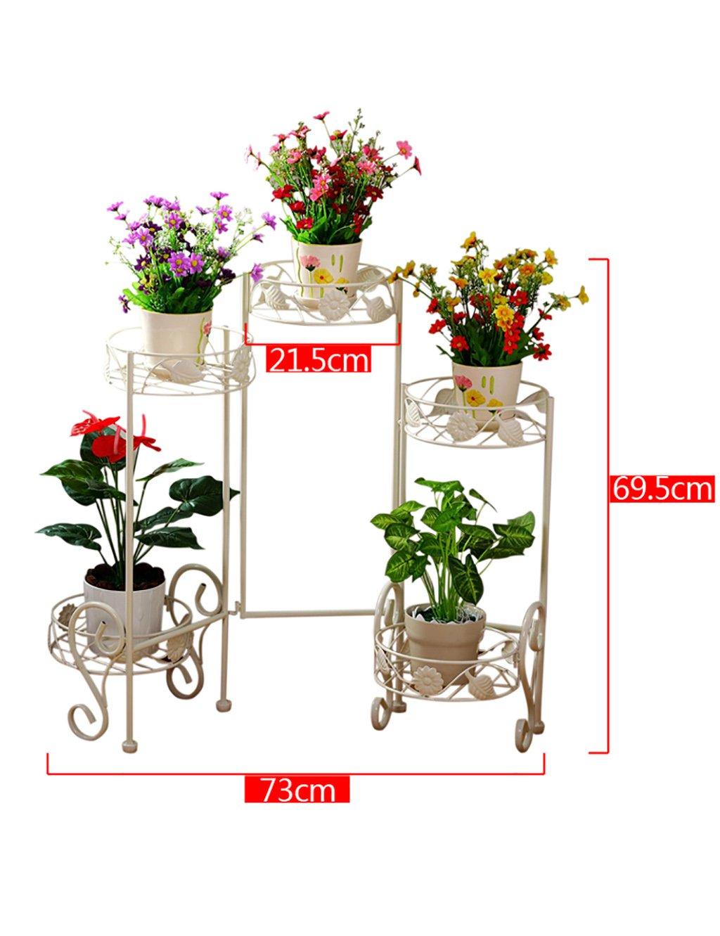 HYNH Continental Mehrschicht-Schmiedeeisen Blumengestell Indoor weißen Bonsai-Rahmen Blumentopfrahmen Balkon Blumenrahmen Blumengestell Professionelles Design