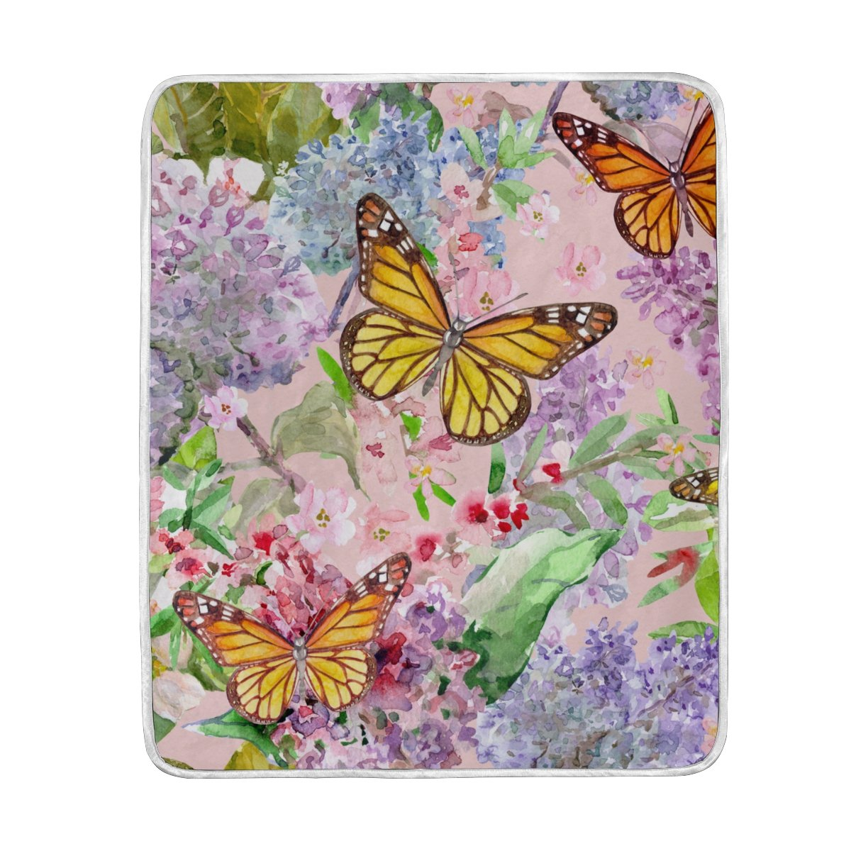 My Little Nest Warm Throw Blanket Watercolor Spring Flowers Butterflies Lightweight Microfiber Soft Blanket Everyday Use for Bed Couch Sofa 50'' x 60''