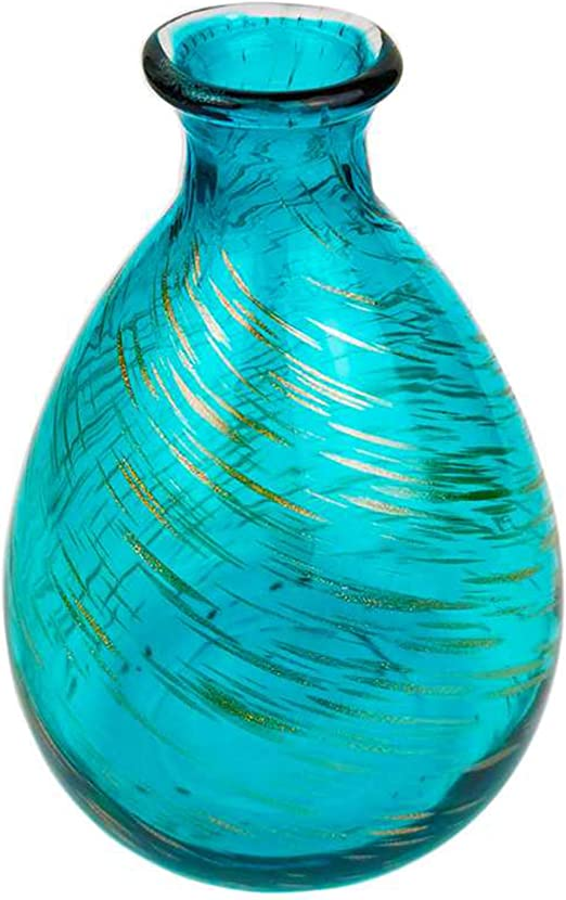 Amazon Com Coolxuan Glass Vase For Flowers Blue And Gold Meteor Rain Decorative Vase Bottle Ideal Centerpieces 7 Tall Tabletop For Home Decor Gift Kitchen Dining