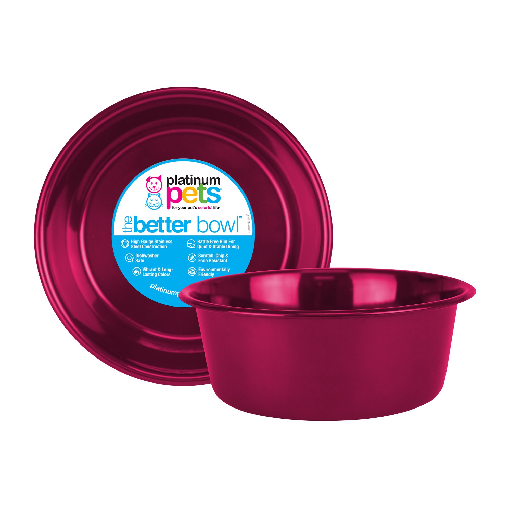 Platinum Pets Heavy Duty Dog/Cat Bowl, 1 Quart, Raspberry Pop