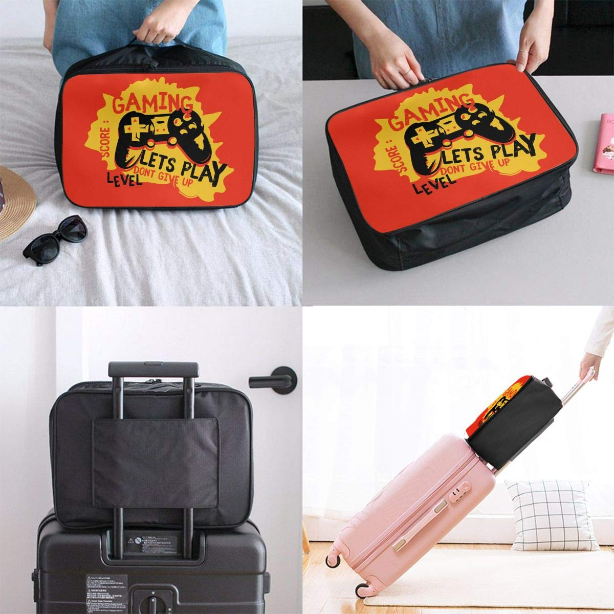 Travel Duffel Bag Waterproof Lightweight Large Capacity Travel Bag Joypad Gaming Portable Carry On Luggage Bag For Travel Camping Sport White