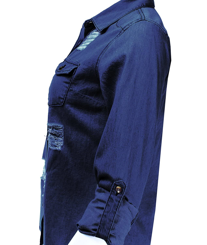 Amazon.com: Ladies código Mujer Camisa vaquera Chambray ...