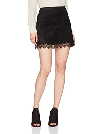 2bf8c7777 cupcakes and cashmere Women's Crista Faux Suede Skirt with Lace Trim at  Amazon Women's Clothing store:
