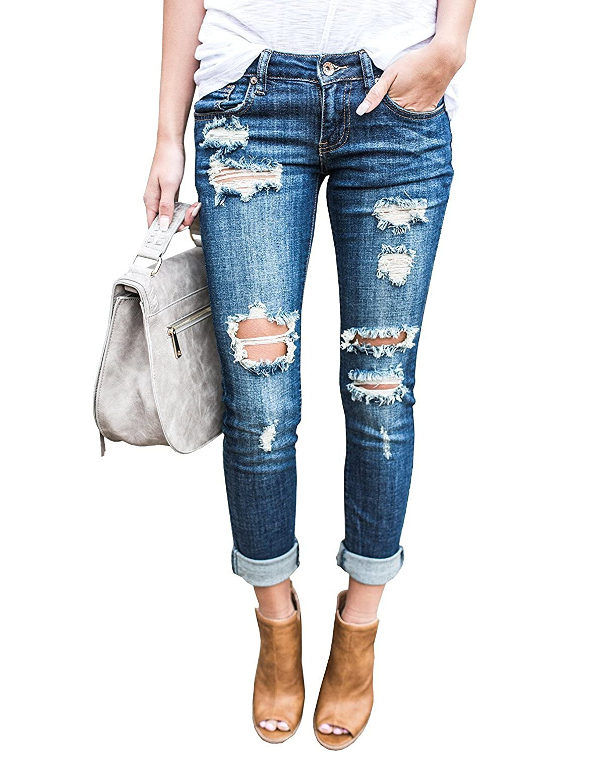 9561d34e7e Feature: Slim fit stretchy skinny jeans with ankle roll up, casual  destroyed boyfriend ankle jeans for women, heavy distressed design, mid rise  jeans ...