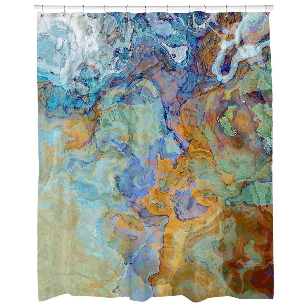 Abstract art shower curtain, blue, blue-green, orange and brown abstract art, Bridge