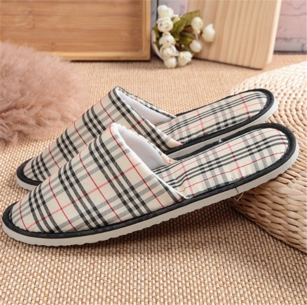 Thick Non-Slip Washable Disposable Slippers for Womens /& Mens Slippers Plaid LQFLD SPA Slippers