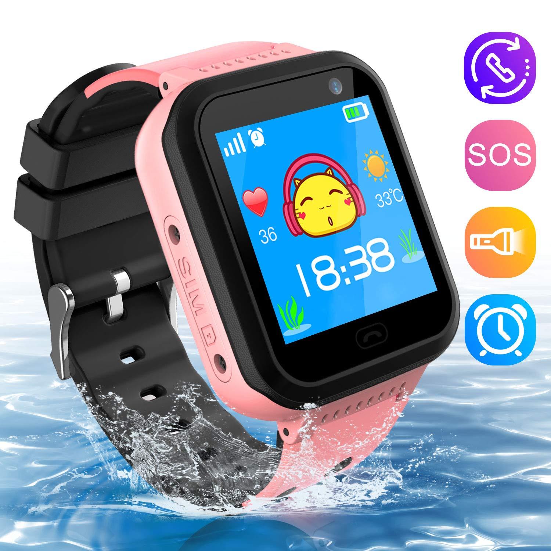 Kids Smartwatch Phone, Waterproof Kids Tracker Watch Camera Call Phone Smart Watch for Kids 3-14 Best Gift for Girls Boys (Pink)