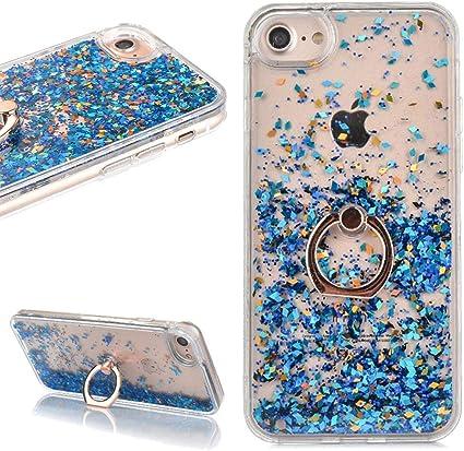 LCHDA Coque iPhone 7 8 Paillette Liquide Anneau avec Bague,Coque iPhone 7 8 Paillette Bleu Flottant Fluide Eau Sable Mouvant Coeur Transparente ...