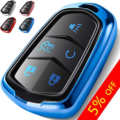 COMPONALL Key Fob Cover for Cadillac, Key Fob Case for 2015-2020 Cadillac Escalade CTS SRX XT5 ATS STS CT6 5-Buttons Premium Soft TPU 360 Degree Full Protection Blue: Automotive