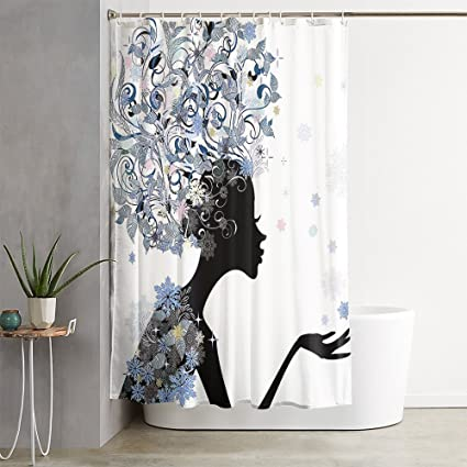 OFloral Girls Flower Snowflakes Black Slate Blue Shower Curtain Decor Set With Liner Waterproof