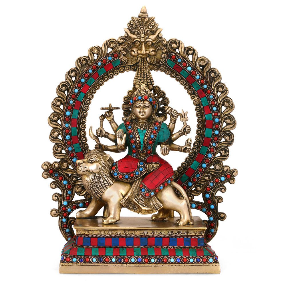 Collectible India 15'' Large Durga Idol Brass Sculpture Mythological Indian Hindu Goddess Durga Shrine Statue-Hindu Maa Durga Temple Offering idol