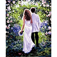 Suntown Paint by Numbers 40x50cm Canvas DIY Oil Painting for Kids and Adults Beginner with Brushes and Acylic Paints