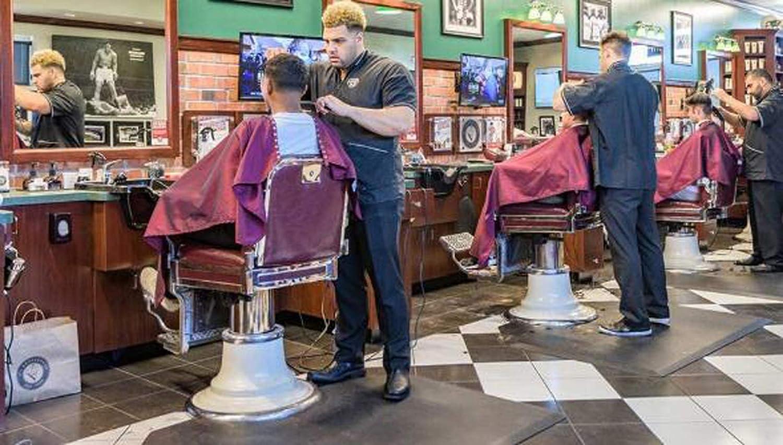 ROYWY Led Barbierstab Rot Weiß Blaue Streifen Rotierend Leuchtende Friseur Pole wasserdichte Frisur Friseursalon Shop Sign Wandleuchte 90cm A D