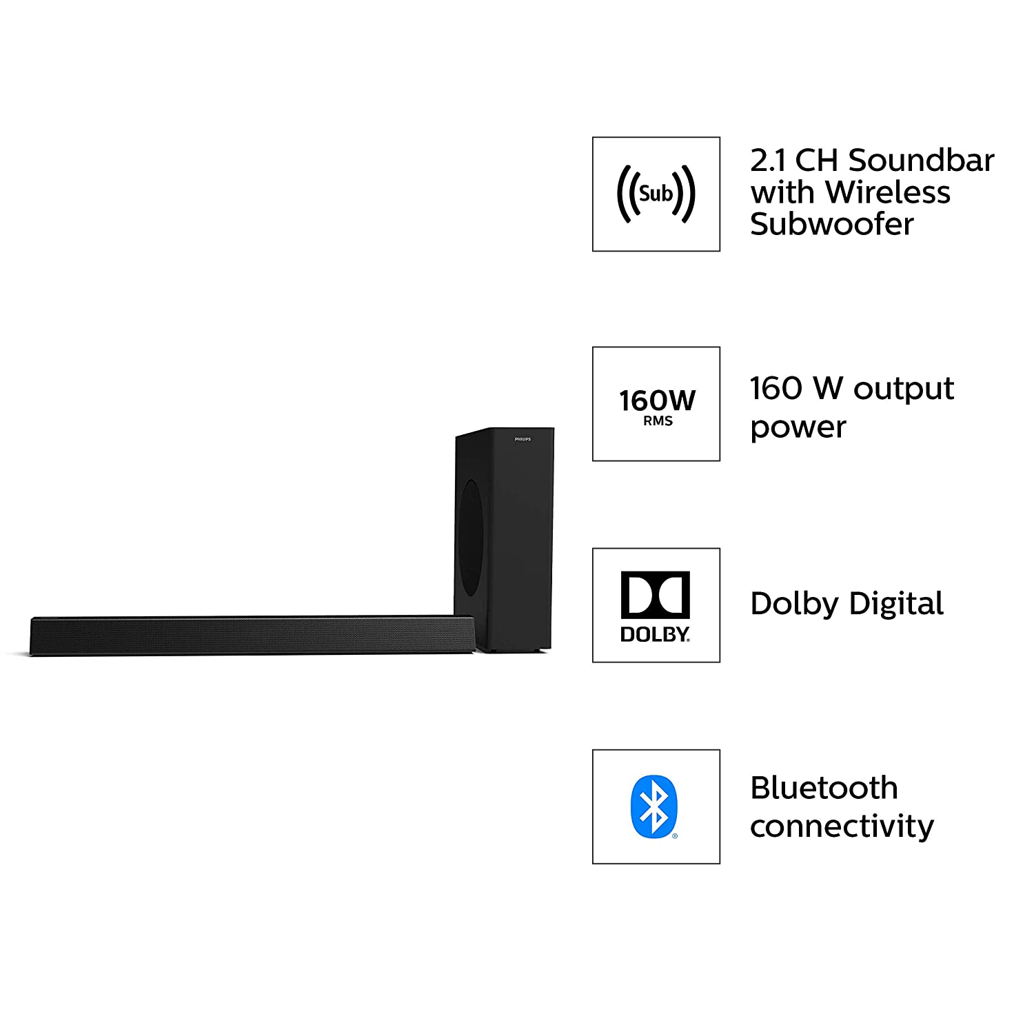 Philips HTL3310 2.1 CH 160 W Bluetooth Soundbar with
