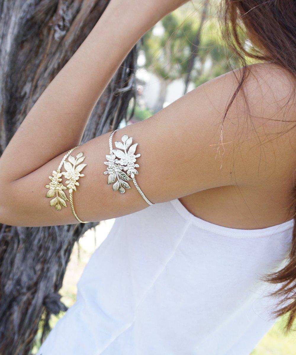 Boho Arm Cuff Arm Bracelet in SILVER Silver Leaf Arm Cuff Adjustable Arm Band Leaf Arm Cuff Bohemian Summer Arm Cuff