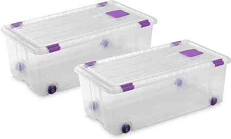 TODO HOGAR - Caja Plástico Almacenaje Grandes Multiusos con Ruedas - Medidas 730 x 405 x 265 - Capacidad de 62 litros (2): Amazon.es: Hogar