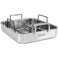 Viking Culinary - Sartén de 3 capas de acero inoxidable con estante antiadherente, 40.64 cm x 33.02 cm, Sartén para asar…