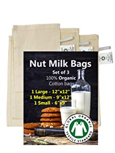 """Madras Collections 100% Certified Organic Cotton Nut Milk Bags Set of 3-12""""X12"""",9""""x12"""" and 6""""x9"""" Commercial Grade - Reusable Almond Milk Bag & All Purpose Food Strainer (Set of 3 Nut Milk Bags)"""