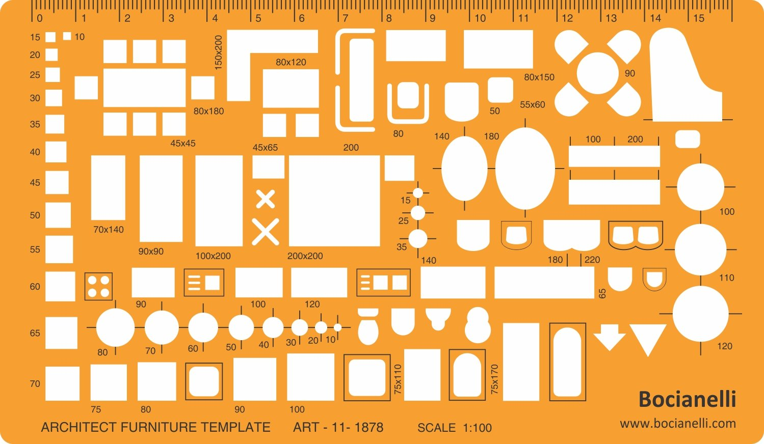 1:100 Scale Architectural Drawing Template Stencil - Architect ...