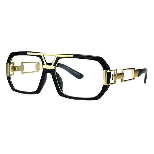 aedc8e6a1dc7 Mens Clear Lens Glasses Flat Top Rectangular Fashion Eyeglasses Black Gold