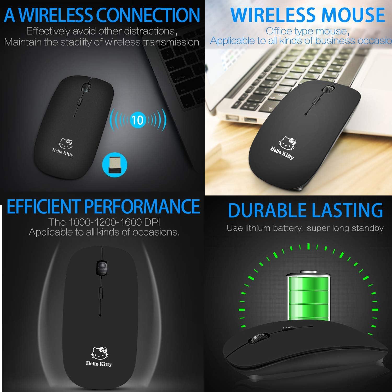 2.4G Ergonomic Mini Mouse Silent Mode ZAPO Hello Kitty Ultra-Thin Wireless Portable Mobile Mouse Optical Mouse with USB Receiver Mini White