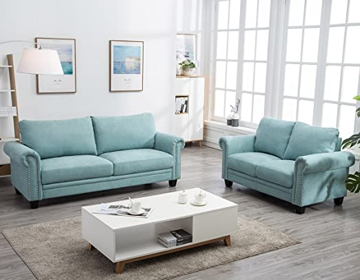 Harper&Bright Designs Sectional Sofa Living Room Sofa Sets Collection Taupe  with Curled Handrails and Nail Head Trim Upholstered Sofa Couches ...