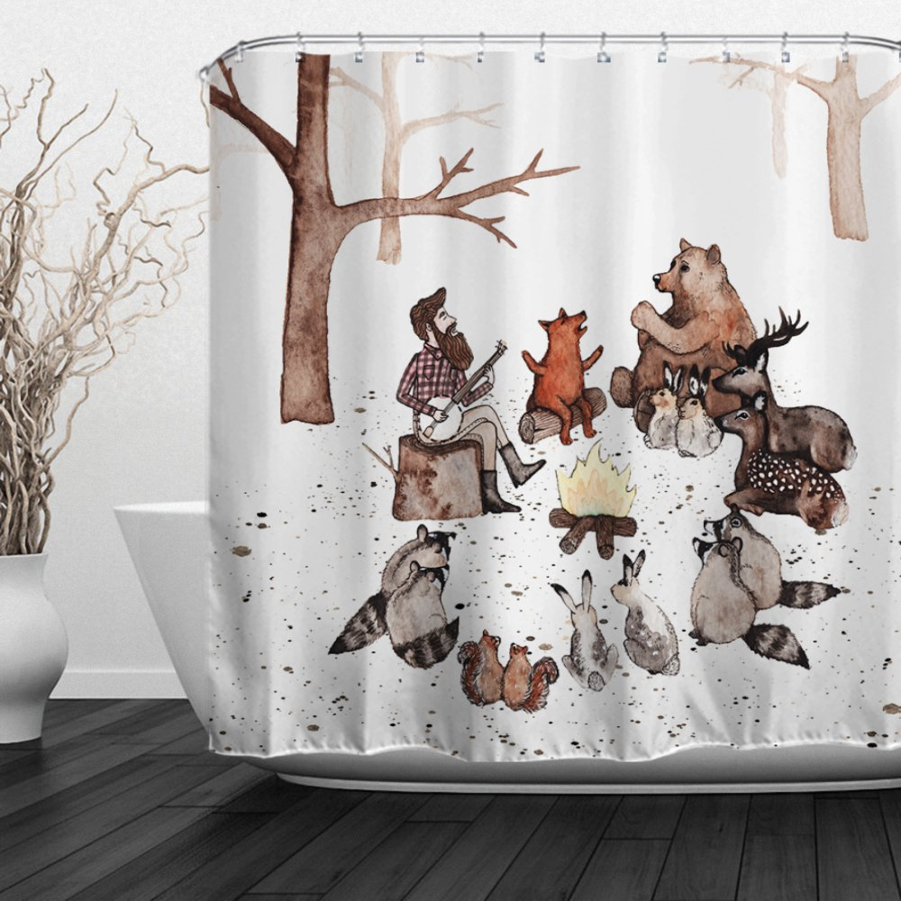 ALFALFA  Home Bathroom Decorative Polyester Fabric Shower Curtain with Hooks, Waterproof, Mildew Resistant 72'' W x 72'' H (180CM x 180CM) - Animals Concerts by ALFALFA