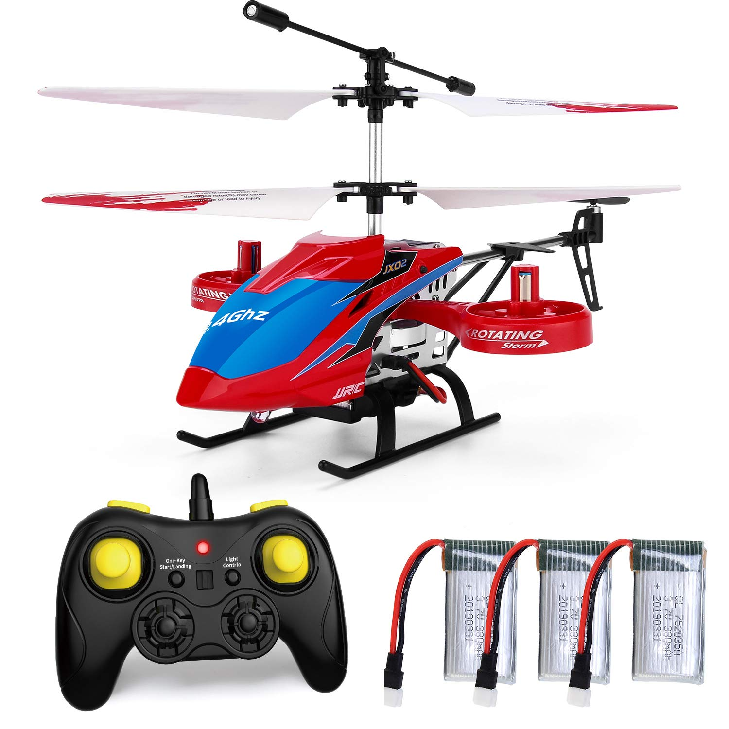 JJRC 4CH RC Helicopter with Remote Control, JX02 Fly Sideway Helicopter  Altitude Hold with 3 Batteries in 18 Minutes, One Key Take Off/Landing,