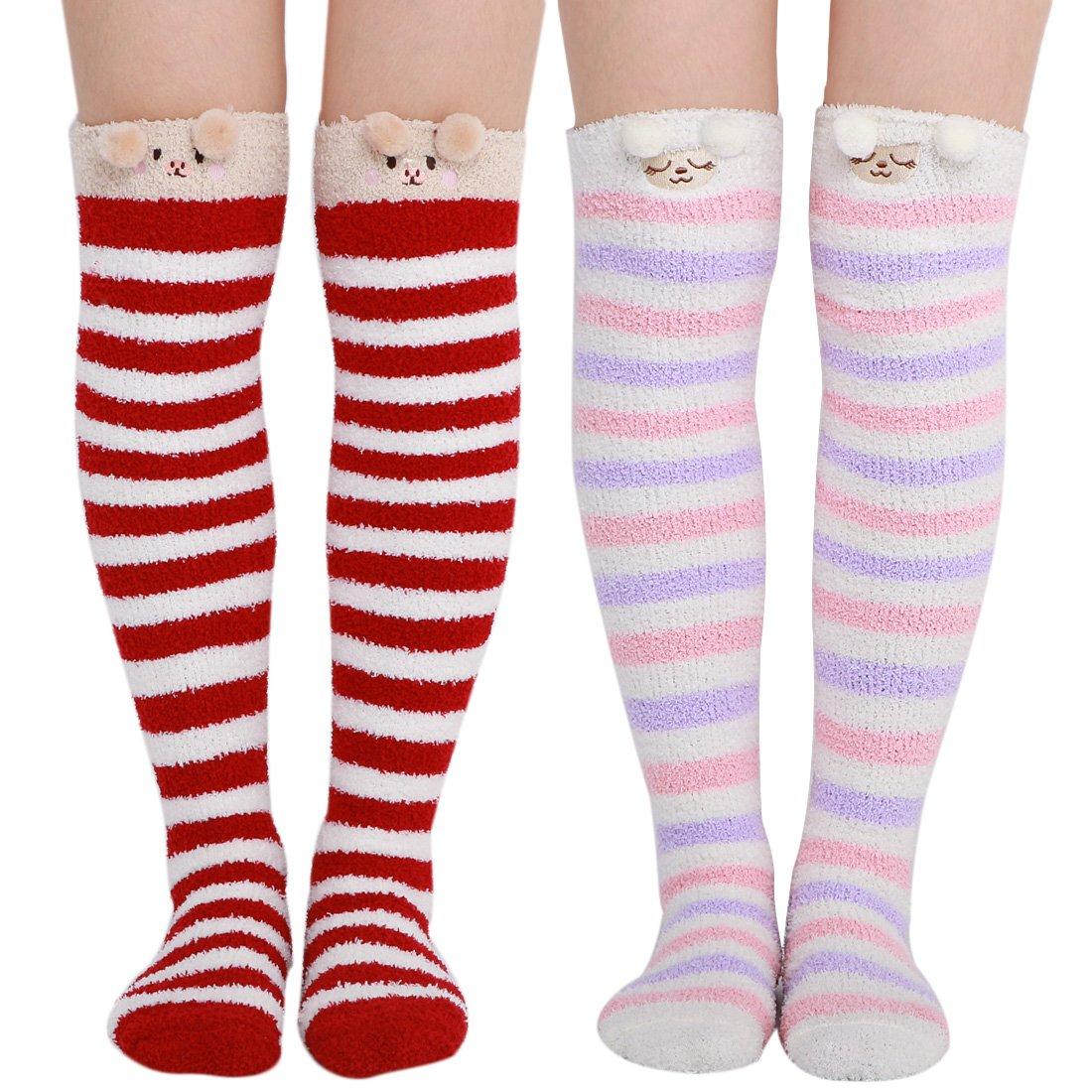 kilofly 2 Pairs Women's Soft Thick Warm Over Calf Knee High Animal Cartoon Socks FTW522set2