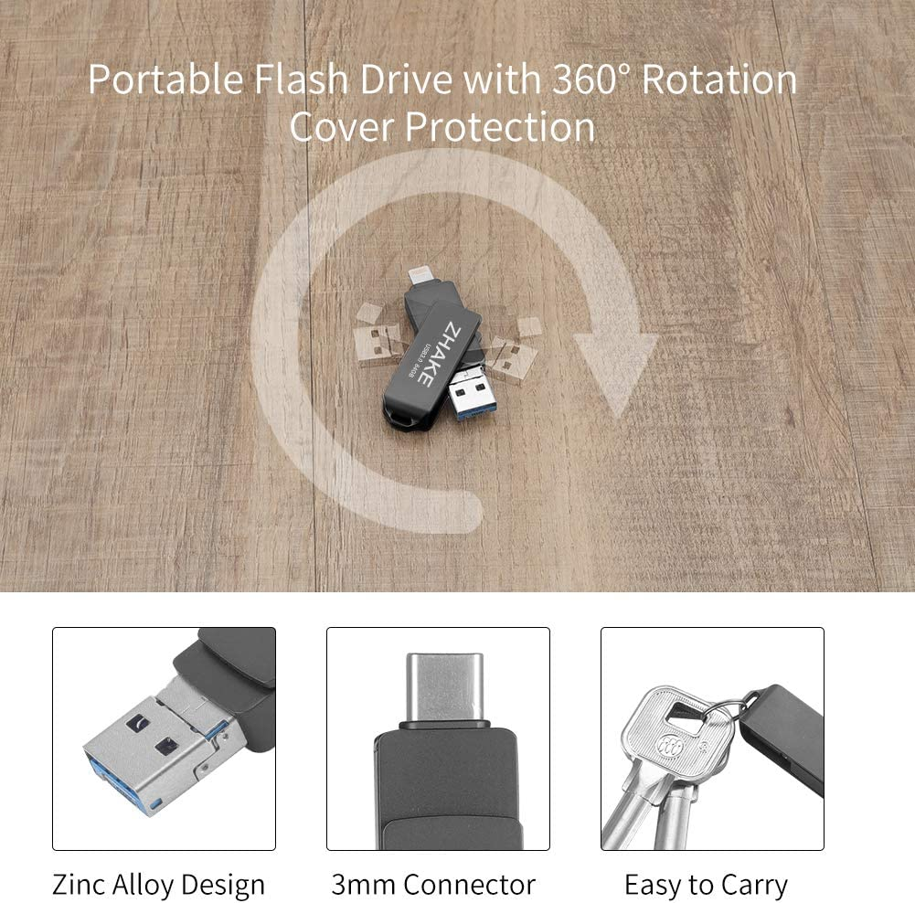 Mac and Computer 64G External Storage for iPhone IOS Memory Stick for iPhone iPad 64GB 3.0 USB Stick Flash drive with 3 Ports Silver