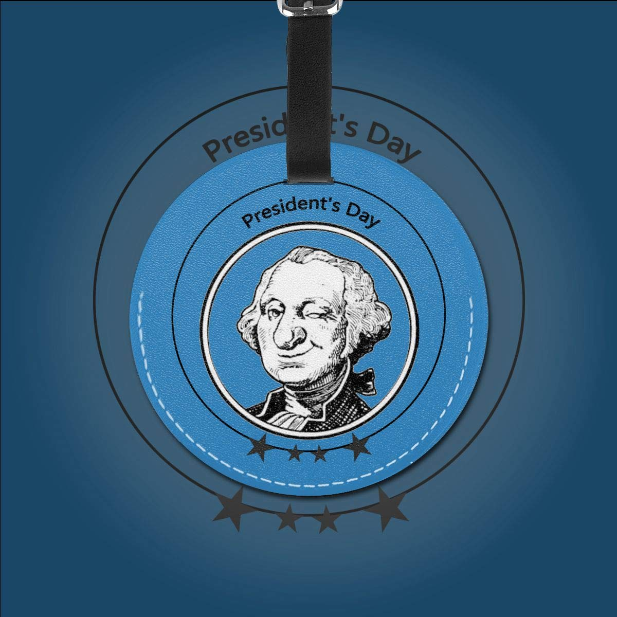 1pcs,2pcs,4pcs Washington Saying 1st Presidents Day Pu Leather Double Sides Print Round Luggage Tag Mutilple Packs
