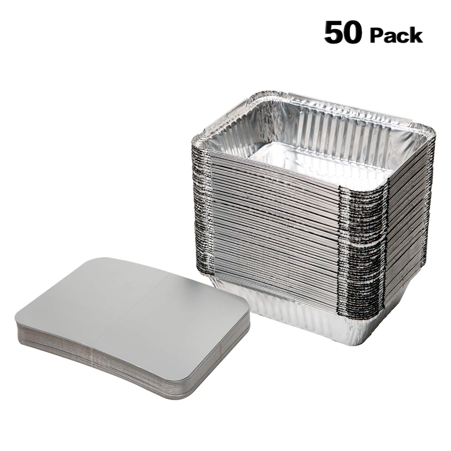 XIAFEI Disposable Durable Aluminum Rectangular Foil Pans, TakeOut Containers, Pack of 50 With Board Lids