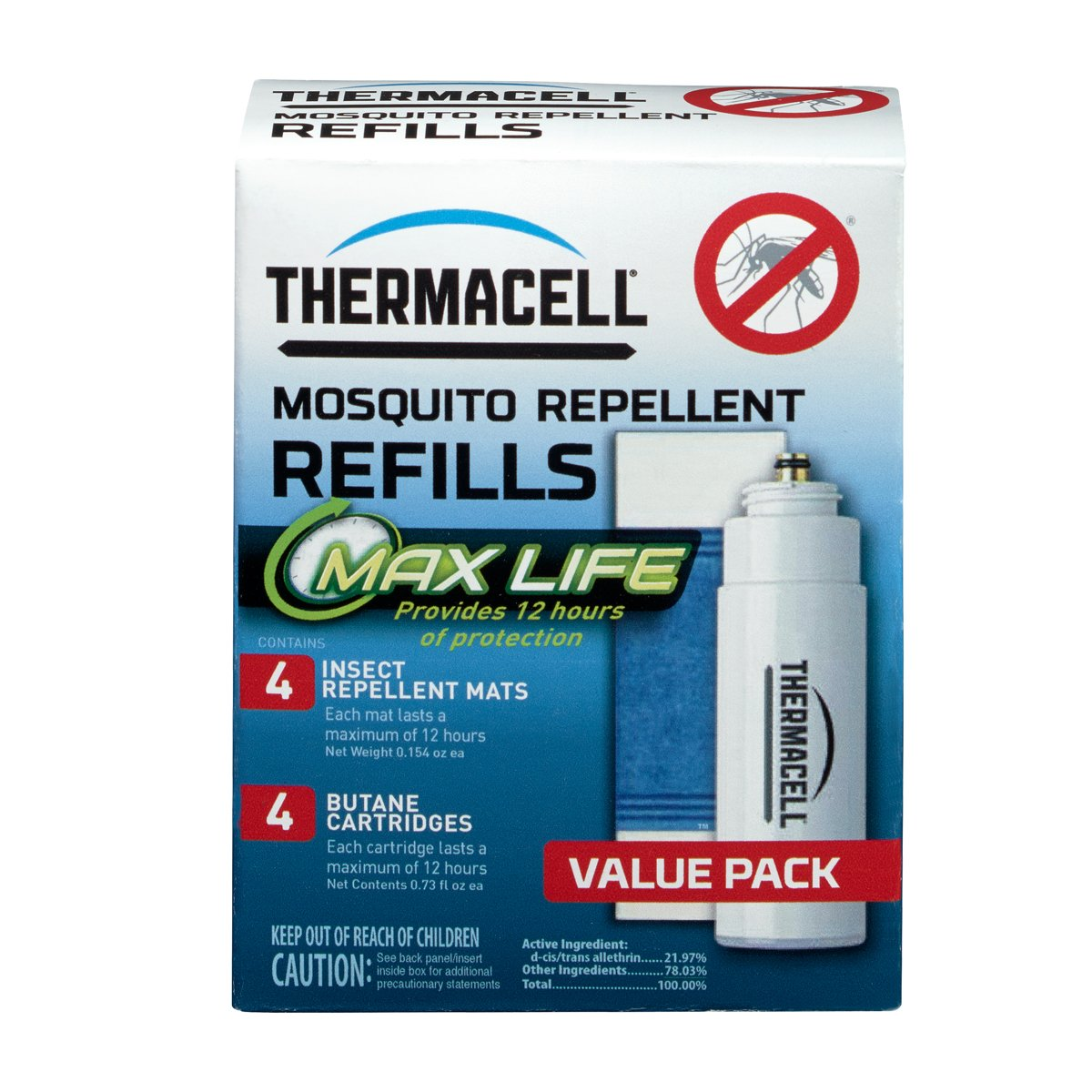 Thermacell L-4 Max Life Mosquito Repeller Refill, 48 Hour Pack (4 Max Life 12-Hour Repellent Mats and 4 Fuel Cartridges)