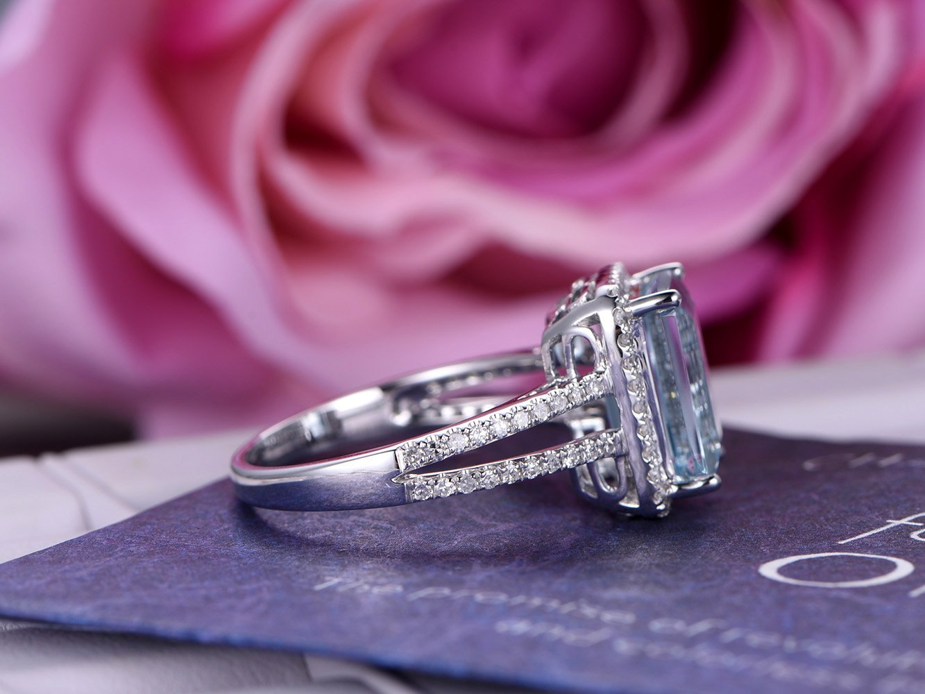 Amazon.com: Emerald Cut Aquamarine Engagement Ring Pave Diamond 14K ...