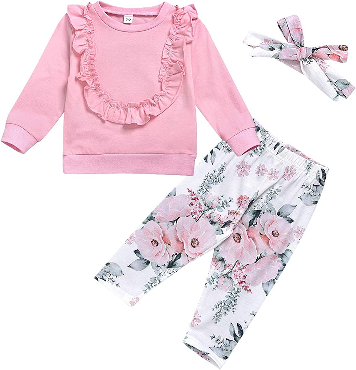 AmzBarley Newborn Baby Girl Clothes Long Sleeve Tops Floral Pants with Headband Outfit Set Autumn Winter Outerwear