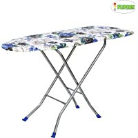 Flipzon Wooden Heavy Self Standing 18 Inch Unique Foldable Ironing Board with Iron Stand - (Color and Design of Cloth Will Different) - (Make in India)