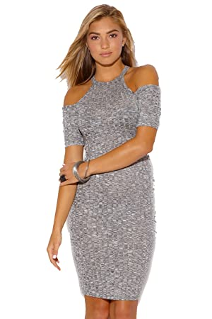 Gray Ribbed Knit Cold Sweater Midi Dress (Large)