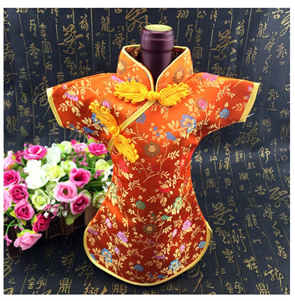 Chinese Brocade Dress Tunic Wine Bottle Cover in Orange (Set of Three)